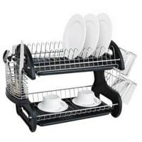 Ktaxon 2 Tier Dish Drainer Drying Rack Large Capacity Kitchen Storage Stainless Steel Holder,Washing Organizer