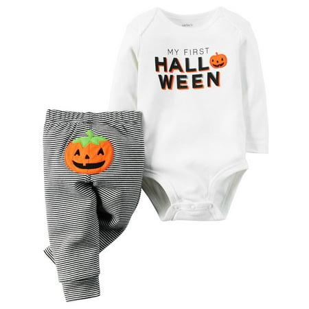 Halloween Onesies Carters (Carters Unisex Baby 2-Piece My First Halloween Bodysuit & Pant Set)