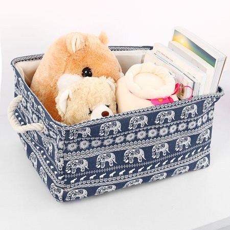 Unique Bargains Collapsible Fabric Storage Basket Household Toys Towel Cube Storage Bins Organizer With Handles,Drawstring Closure](Storage Organizer With Bins)