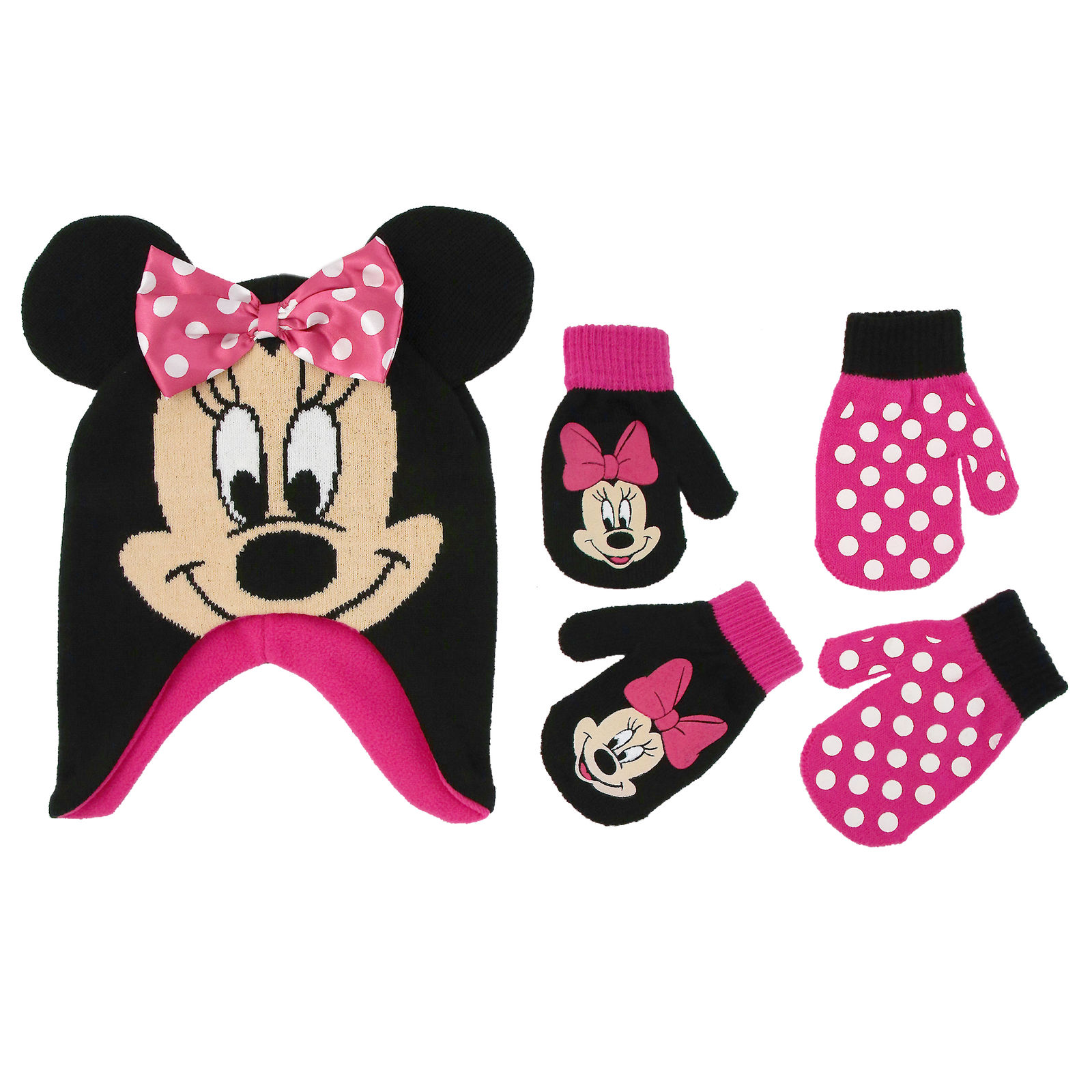 Disney Little Girls Minnie Mouse Hat and 2 Pairs Mittens/Gloves Cold Weather Accessory Set