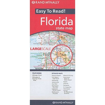 Rand Mcnally Easy To Read Florida State Map Folded Map Walmart Com