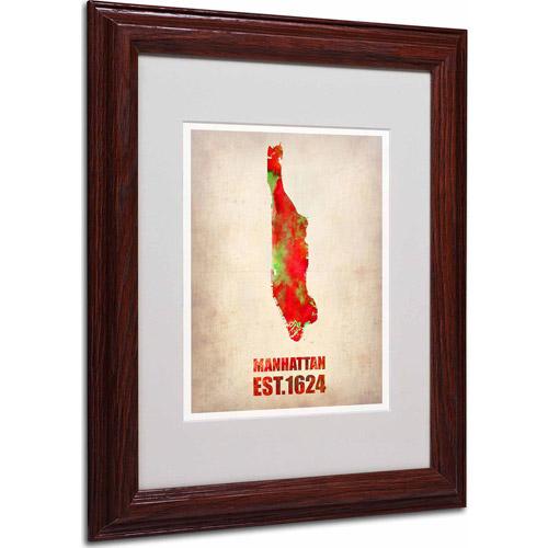 """Trademark Fine Art """"Manhattan Watercolor Map"""" Matted Framed Art by Naxart, Wood Frame"""