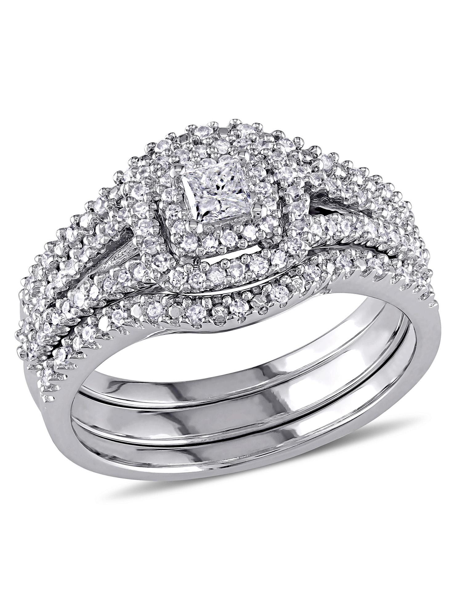 1/2 Carat T.W. Princess and Round-Cut Diamond Sterling Silver Double Halo Bridal Set