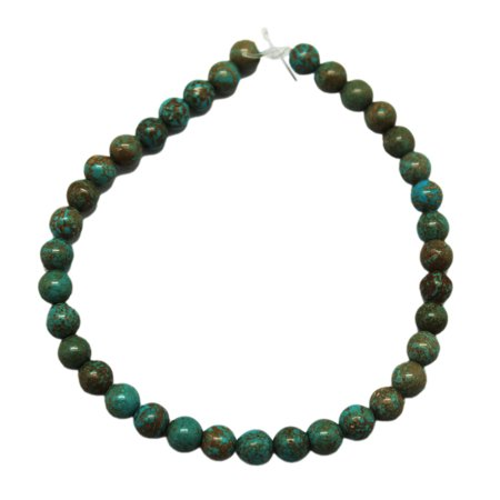 6mm Round Turquoise Bead Ball Strand With Golden Matrix (36 Piece) - Jewelry Beads