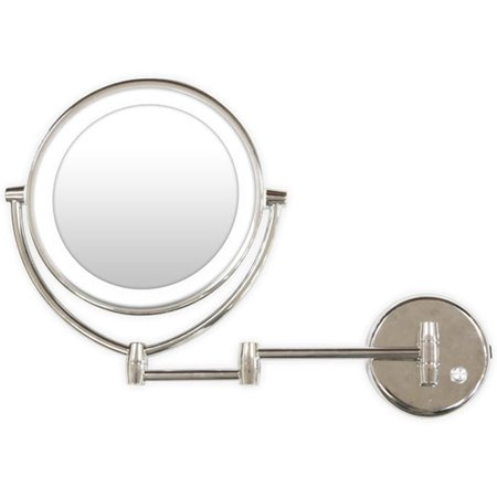 Chrome Wall Mounted Mirror (Metal Round LED Light Extendable Wall Mounted Mirror 7x/1x Magnification Chrome Finish - 9.50