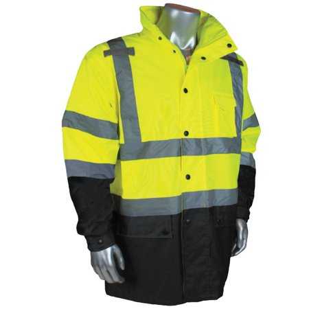 Extra Large Light Oxford - RW30-3Z1Y-XL Class 3 General Purpose Rain Jacket (1 per Pack), Extra Large, Green, 300 denier PU coated Hi-Viz oxford material By Radians