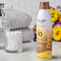 (2 pack) Equate Tanning Dry Oil Sunscreen Spray, SPF 10, 6 fl oz