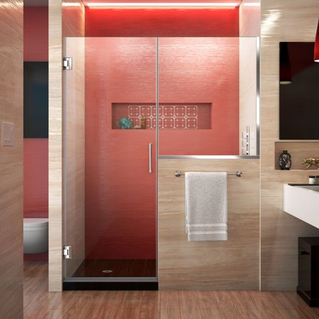 DreamLine Unidoor Plus 48-48 1/2 in. W x 72 in. H Frameless Hinged Shower Door with 36 in. Half Panel in Chrome ()