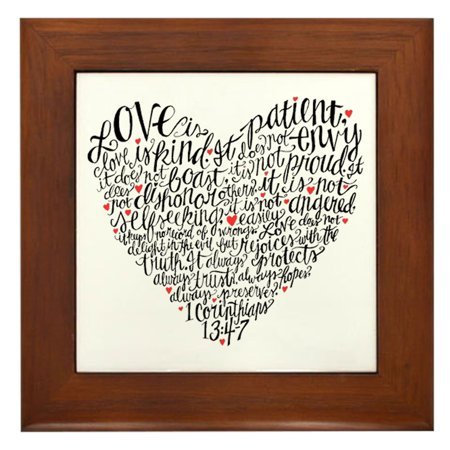 CafePress - Love Is Patient Corinthians 13:4-7 - Framed Tile, Decorative Wall Hanging