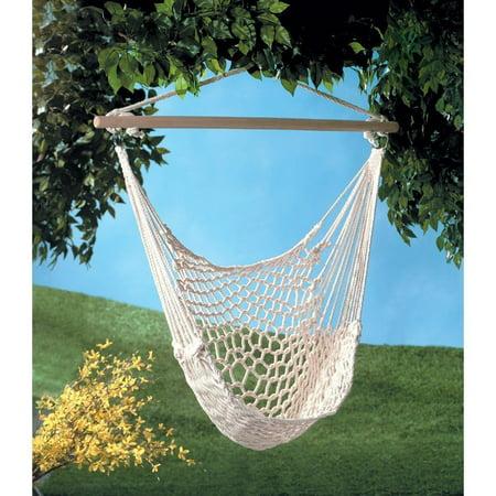 Indoor Outdoor Handmade Hanging Cotton Rope Hammock Lounge Swing Chair for Patio, Porch, Bedroom, Backyard - Beige