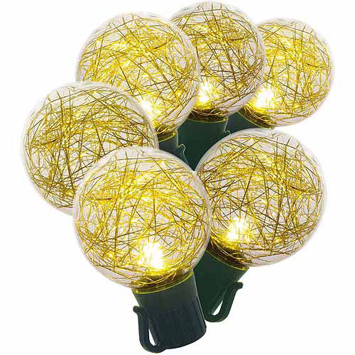 Holiday Time LED Tinsel G40 Christmas Lights, Warm White and Gold, 25-Count