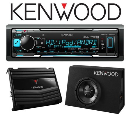 Kenwood KMM-BT518HD w/ P-W100B Digital Media Receiver with Built-in Bluetooth and HD Radio with Vented Enclosure Box Subwoofer with 400W Amplifier ()