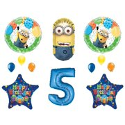 5th DESPICABLE ME MINIONS Happy Birthday PARTY Balloons Decorations Supplies