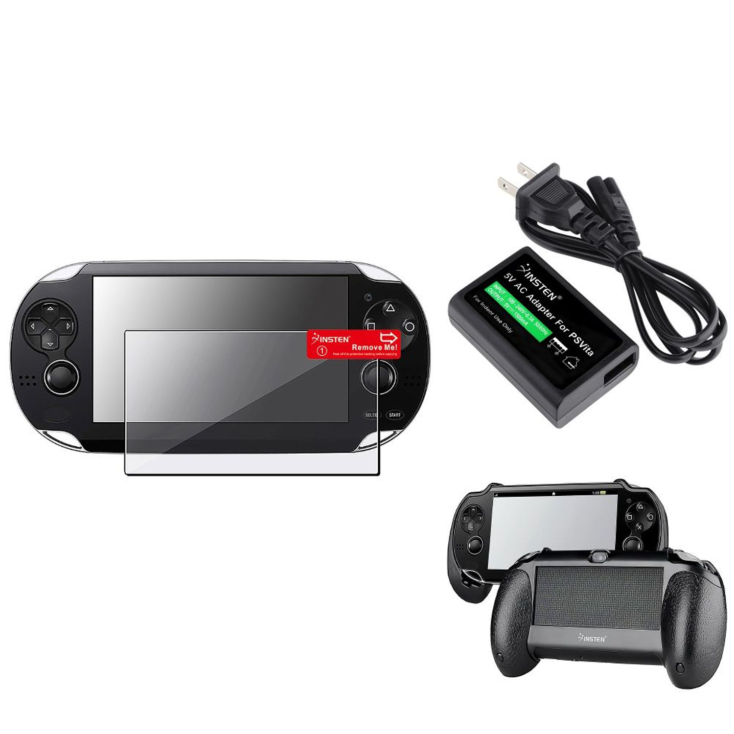 Insten Black Hand Grip+Clear Screen Protector+ac Adapter US Plug For Sony PS Vita PSV