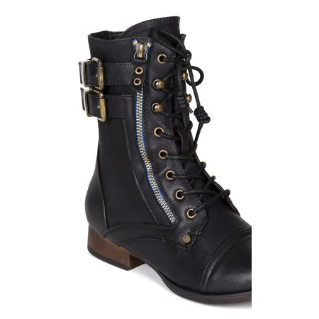 Liliana BH76 Women Burnish Leatherette Zipper Lace Up Combat Riding Boot