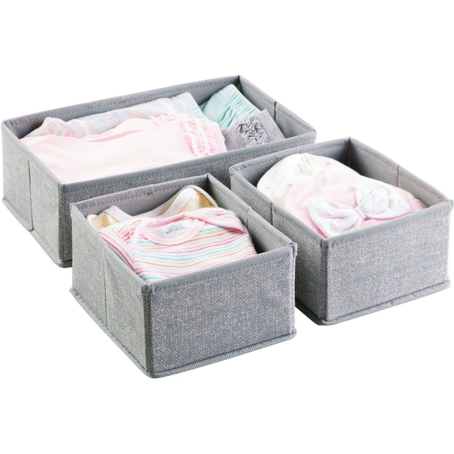 InterDesign Aldo Drawer Organizer, 3S (Set of 3), Grey