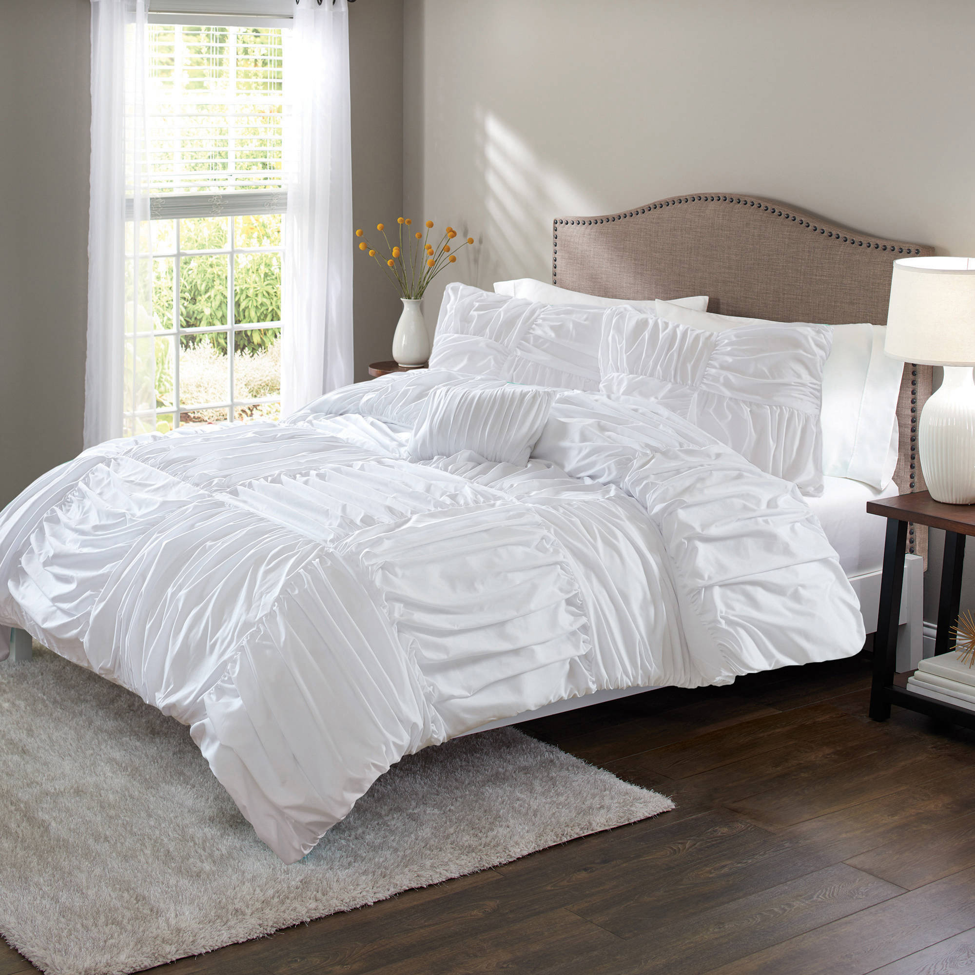 BHG Basketweave Ruched Duvet Set