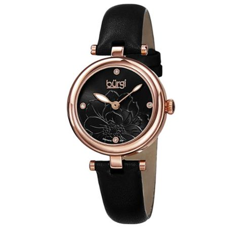 - Women's Quartz Diamond Markers Etched Flower Dial Leather Black Strap Watch with FREE Bangle