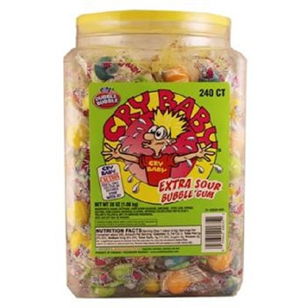 Sour Bubble Gum - Cry Baby Extra Sour Bubble Gum - Jar 1 Ct Each ( 240 In A Pack )