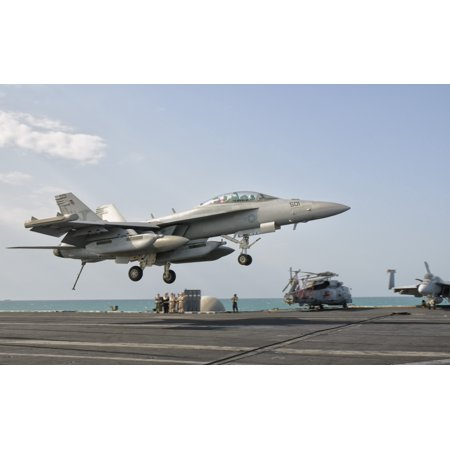 An Ea 18G Growler Trap Landing On The Flight Deck Of Uss George Hw Bush Canvas Art   Giovanni Collastocktrek Images  36 X 22
