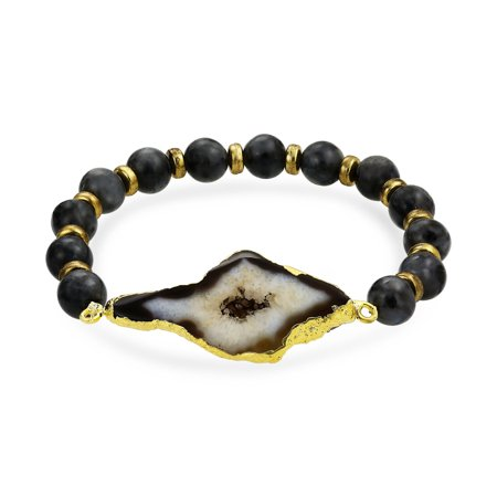 Natural India Agate - Boho Black Brown Organic Natural Sliced Agate Stones Ball Bead Stretch Bracelet For Women For Teen Gold Plated Metal