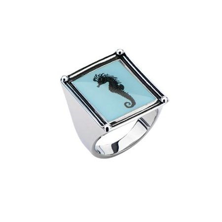 Inox Jewelry Women Metal Stainless Steel Seahorse Frame Fashion Ring (Size 7)