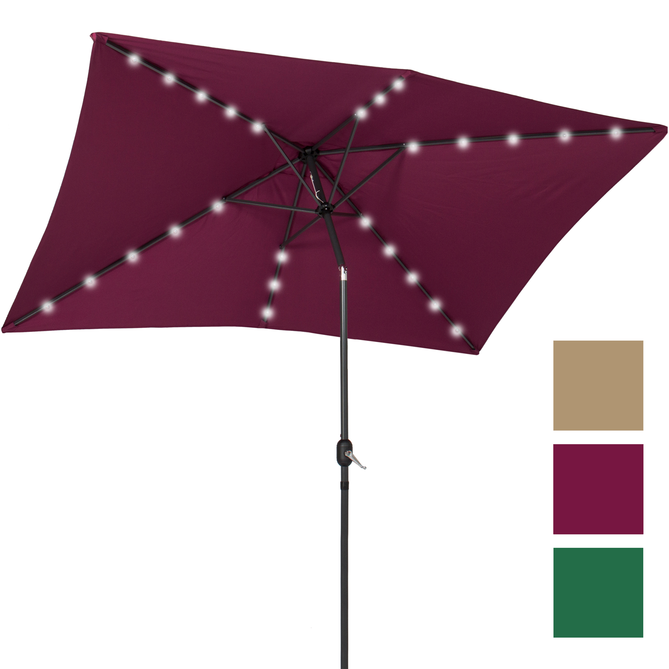 BCP 10' x 6.5' LED Solar Patio Umbrella With Tilt Adjustment Multicolor by Patio Umbrellas