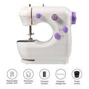 LYUMO Mini Sewing Machine, Miniature Purple Electric Household Dual-speed Sewing Machine EU Plug