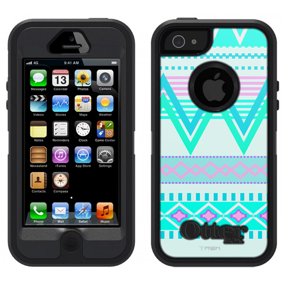 SKIN DECAL FOR OtterBox Defender Apple iPhone SE Case - Aztec Andes Tribal White Teal DECAL, NOT A CASE