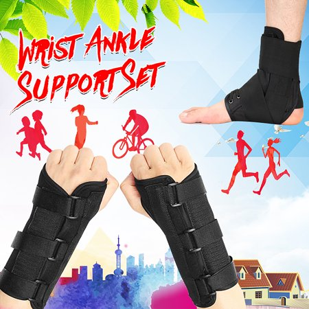 1Pair L Unisex Breathable Medical Carpal Tunnel Night Wrist Brace Splint Support Arthritis Sprain Gym Hand Protector 3 Straps Adjustable Removable Metal Strips (Right & Left Hand ()