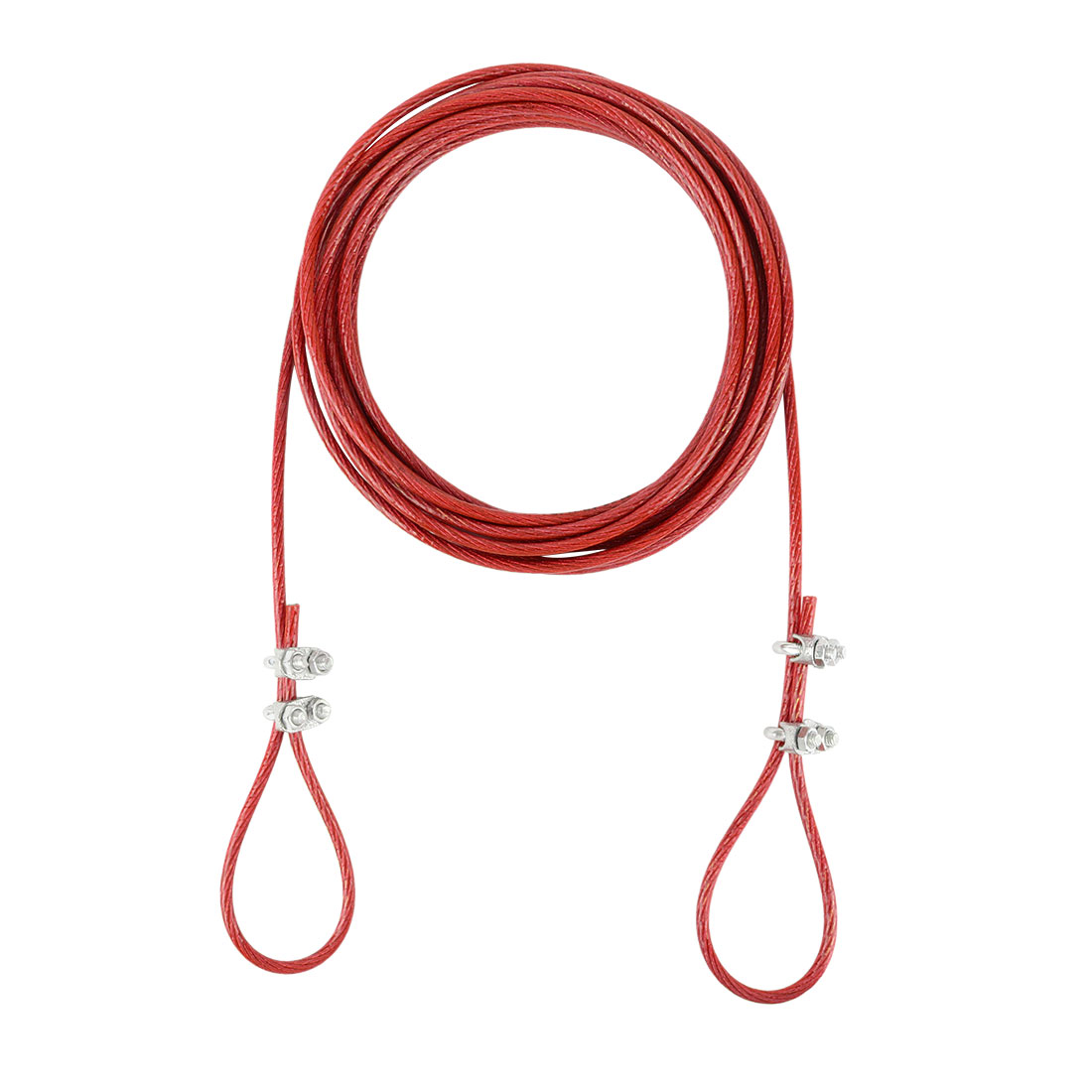 Steel Cored Clothesline Endure Heavy Weight Nylon Wrapped Red 3 Meters Length