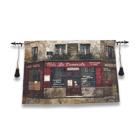 Paris Forgotten Tapestry Wall Hanging with Decorative Rod 52 In. X 35.5
