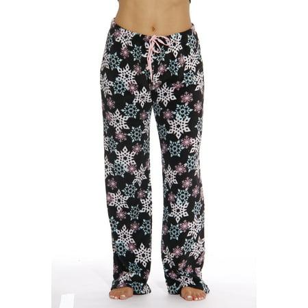 Just Love Womens Winter Print Plush Pajama Pants (Black - Snowflake, Small)