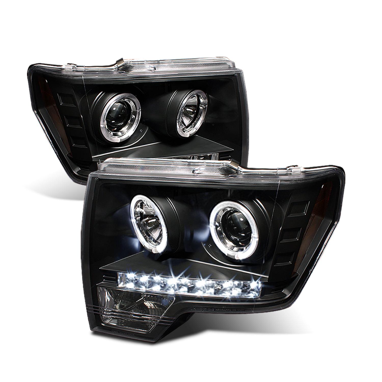 Fits 09-14 F150 F-150 Pickup Black Bezel LED Strip//Tube Projector Headlights
