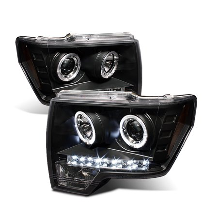 Fits 09-14 Ford F150 F-150 Pickup Black Bezel Dual Halo LED Projector