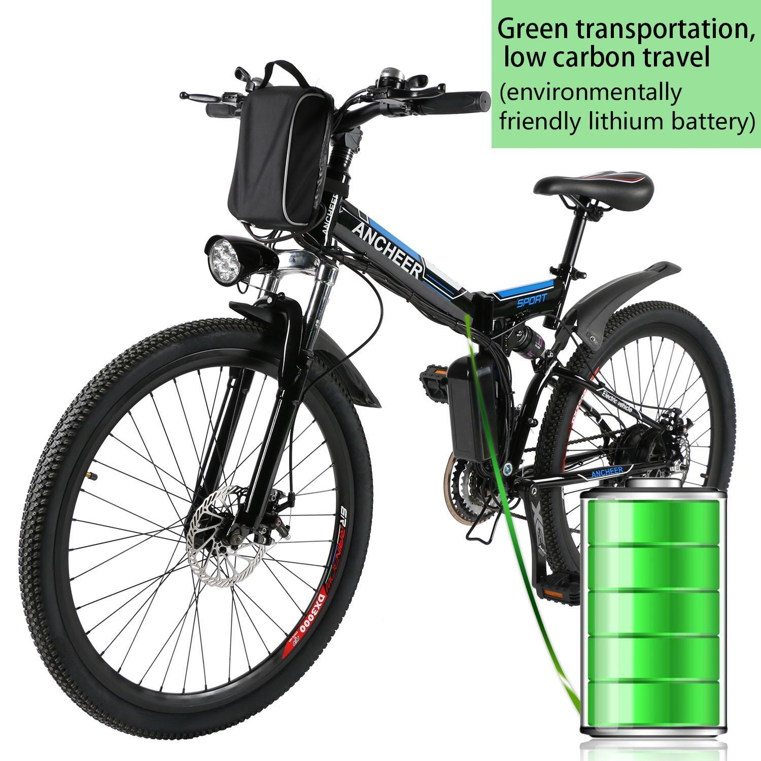 """Ancheer 26"""" 36V Foldable Bike Electric Power Mountain Bike Bicycle with Lithium-Ion Battery"""