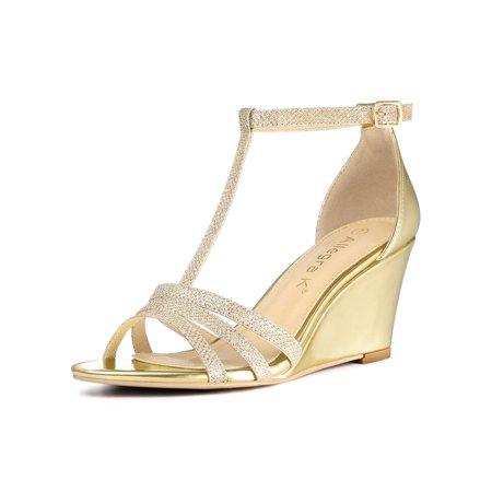 Women's Glitter Open Toe T-Strap Wedge Heel Sandals Gold (Size - Glitter Wedge Sandals