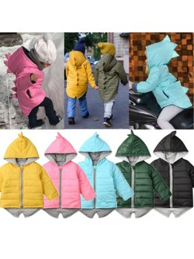 Kids Baby Boys Girls Dinosaur Hooded Coat Jacket Winter Toddler Thick Outwear 1-7 Years