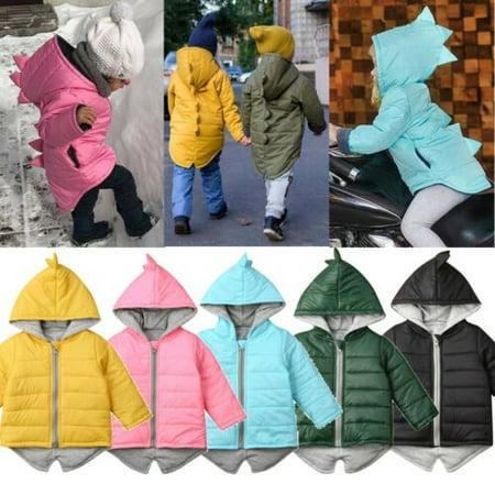 Kids Baby Boys Girls Dinosaur Hooded Coat Jacket Winter Toddler Thick Outwear 1-7 Years Toddler Jackets Shop