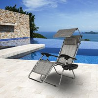 Zero Gravity Canopy Folding Chair Poolside Backyard Beach Outdoor Lounge Recliner Reclining Sun Lounger
