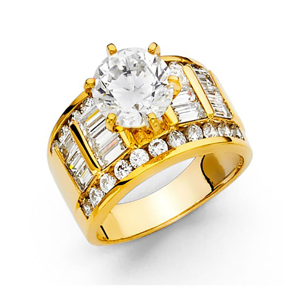 14k Yellow Gold CZ Channel Set Baguette Wide Engagement Ring