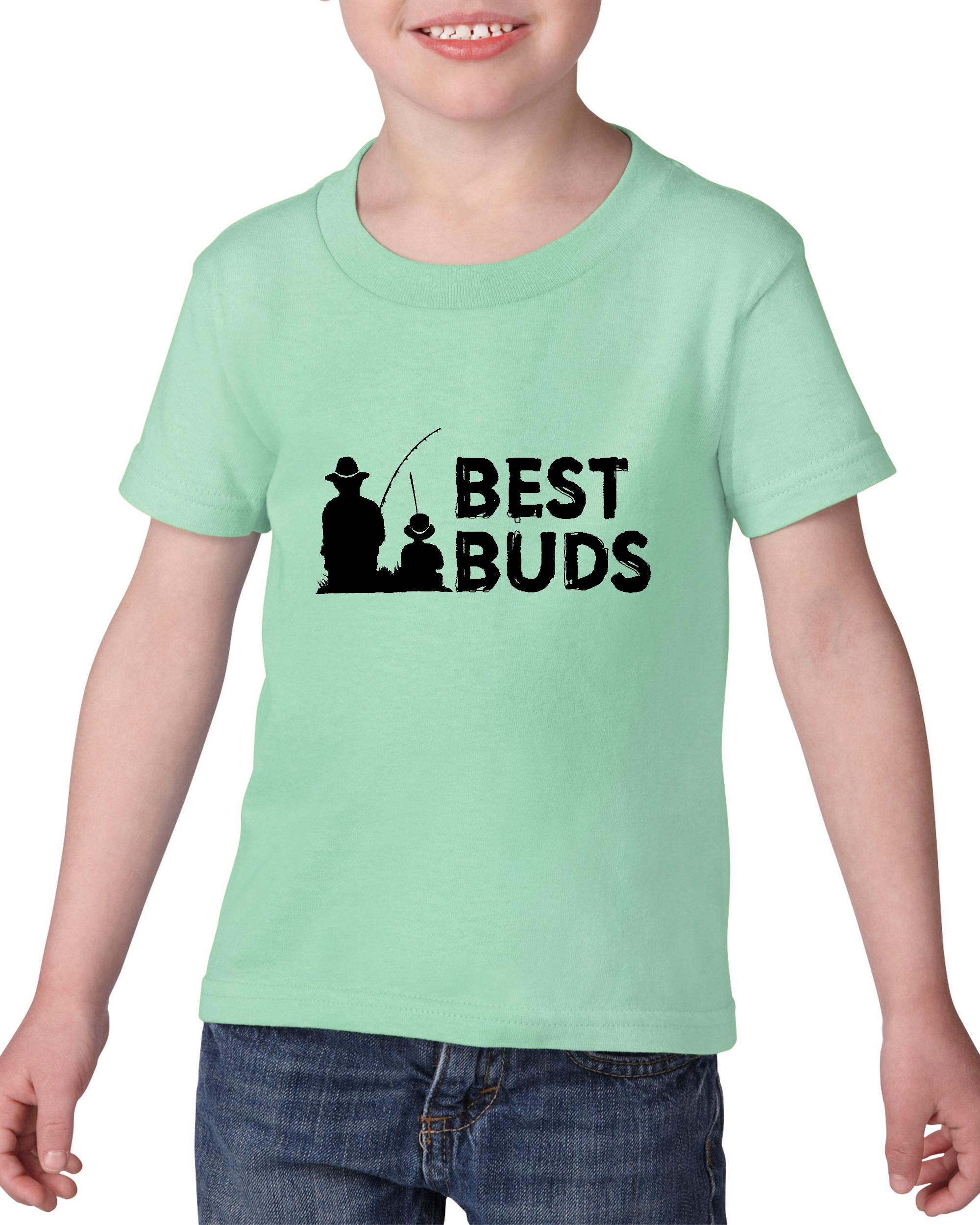 Artix Best Buds Fishing Buddy Grandpa & Grandso Best Awesome Family Togetherness Funny Gift 4 Retirement Fathers Day Birthday Heavy Cotton Toddler Kids T-Shirt Tee Clothing