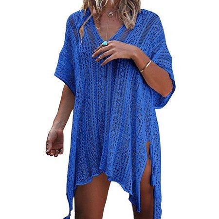 Womens Vintage Crochet Lace Bikini Swimsuit Cover Ups Hollow Out Beach Dresses V-neck Summer Bathing Suit Beachwear Tops