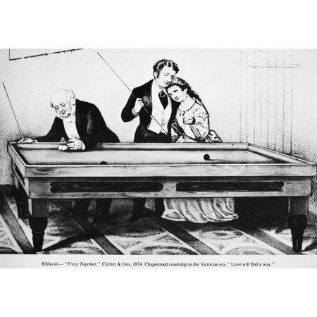 Billiards 1874 NFroze Together Lithograph 1874 By Currier & Ives Rolled Canvas Art -  (24 x 36) Currier & Ives Scene