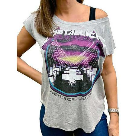 7ad899161 Cyberteez - Metallica T-Shirt Master Of Puppets Women's Gray Wide Scoop Tee  (S) - Walmart.com