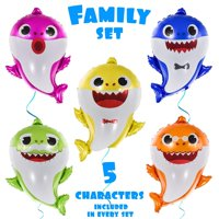 """OMG Party Factory - Huge 25"""" Baby Shark Birthday Balloons - Birthday Party Decorations Baby Shower Supplies Helium Balloons- All Family Members Included Doo Doo (5pcs) - Globos Para F"""