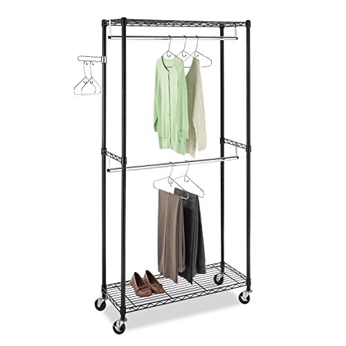 Rolling Tire Storage Rack >> Whitmor, Inc Supreme Double Rod Rolling Garment Rack in Black - Walmart.com