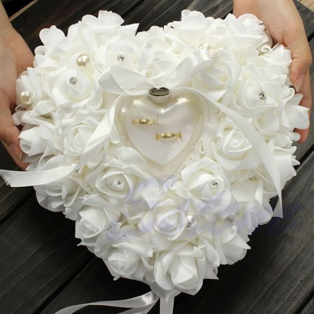 Romantic Rose Wedding Favors Heart Shaped Jewelry Gift Ring Box Pillow -