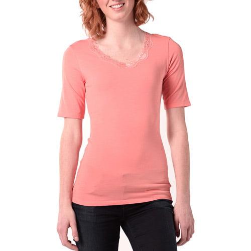 Bella Bird Women's Half Sleeve Lace Scoop T-Shirt