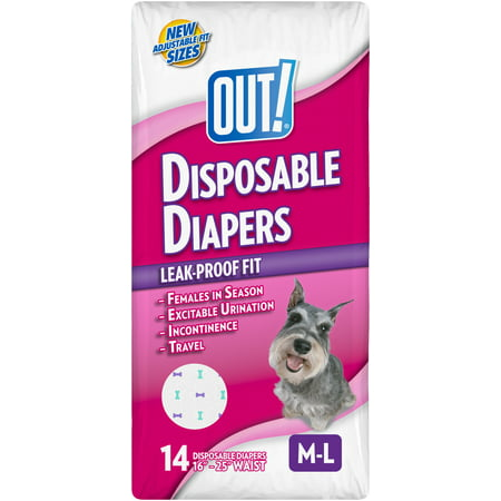 Out  Disposable Female Dog Diapers  M L  14 Ct